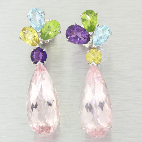 Modern 14k White Gold Morganite Gemstone Drop Earrings