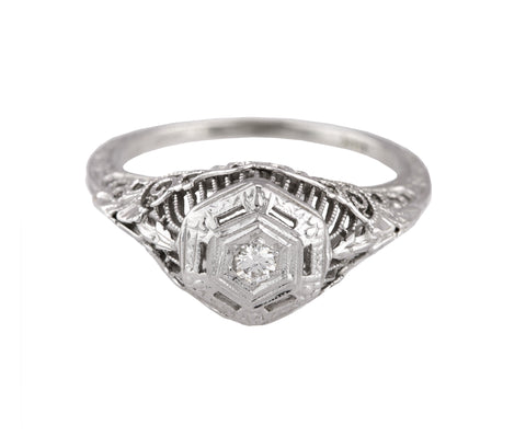 Antique Art Deco 18K White Gold .06CT Solitaire Diamond Filigree Engagement Ring