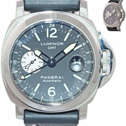 Panerai PAM 88 Luminor GMT Date Automatic Black 44mm Rubber Steel Watch PAM00088