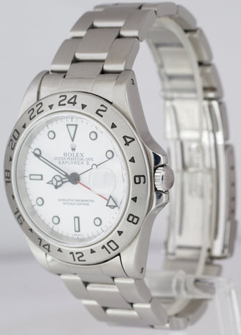 1999 Rolex Explorer II Polar White Stainless Automatic 40mm GMT 16570 Date Watch
