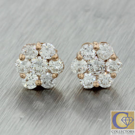 Women's Solid 14k Rose Pink Gold 10mm 2.19ctw Diamond Cluster Stud Earrings