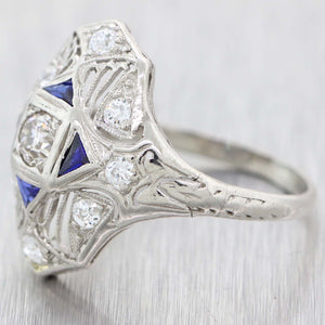 1930s Antique Art Deco Platinum Filigree .50ctw Diamond Sapphire Cocktail Ring A9
