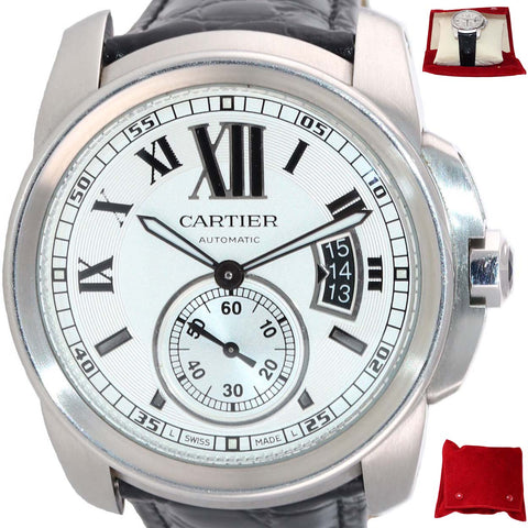 Cartier Calibre 42mm Steel Silver Roman 3299 Black Leather Date Automatic Watch
