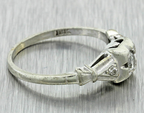 1930s Antique Art Deco 18k Solid White Gold Diamond Engagement Ring