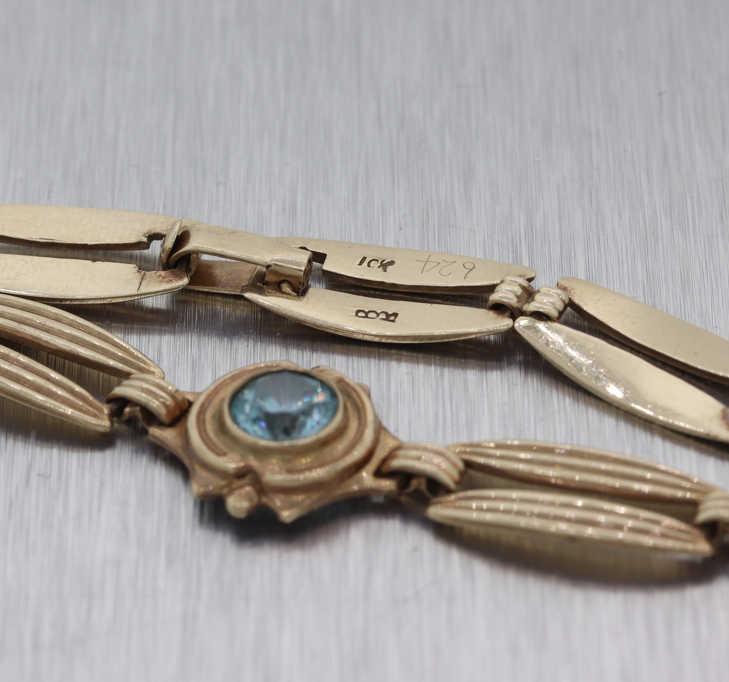1920s Antique Art Deco 10k Yellow Gold 2.25ctw Blue Zircon Chain Bracelet E8