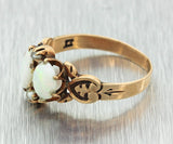 1880s Antique Victorian 9ct Solid Yellow Gold 7x5mm Oval Opal Seed Pearl Ring