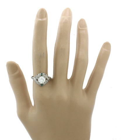 1920s Antique Art Deco Solid Platinum 1.51ctw Diamond Emerald Ring EGL