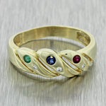 Vintage Estate 14k Yellow Gold Diamond Sapphire Emerald Ruby Band Ring