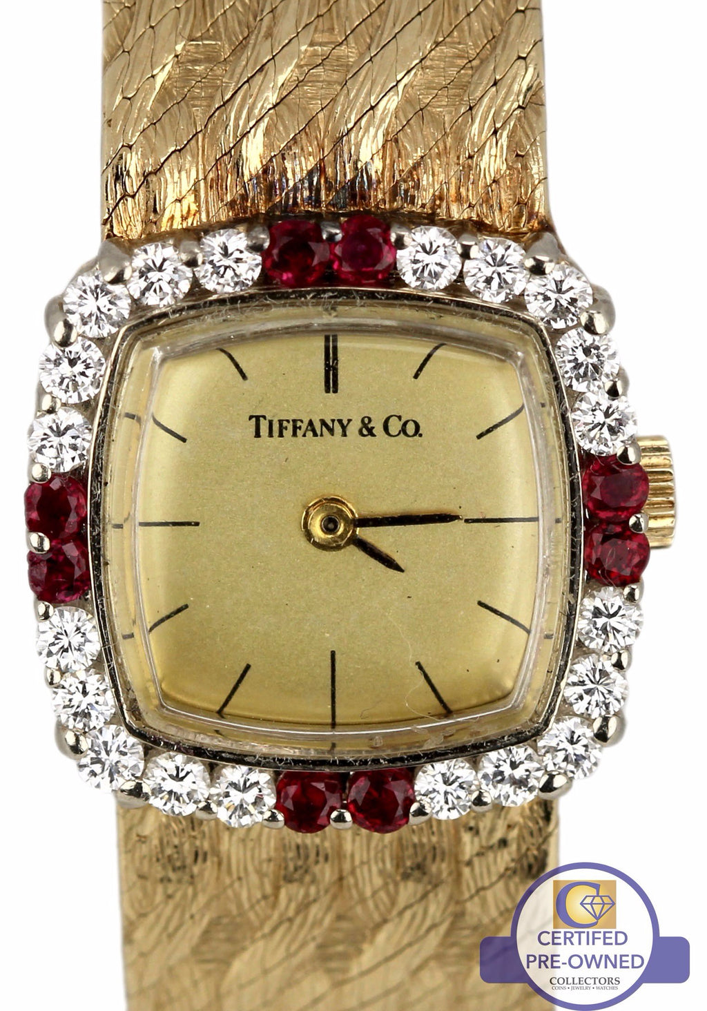 Vintage Ladies Authentic Tiffany & Co. 14K Yellow Gold Ruby Diamond Bezel Watch