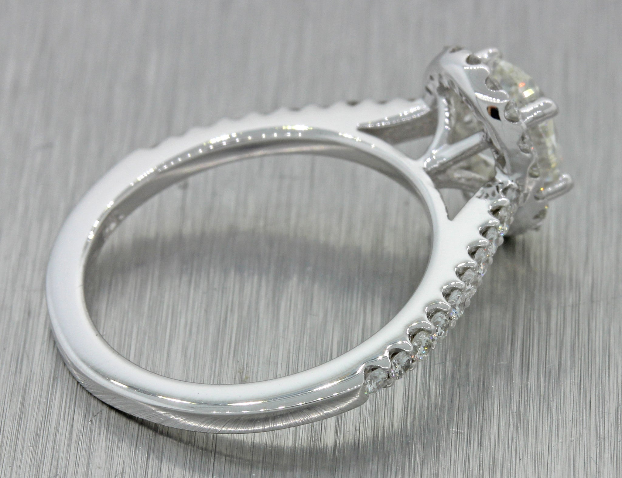 14k Solid White Gold 1.41ctw Oval Diamond Halo Engagement Ring EGL International
