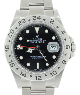2003 Rolex Explorer II 16570 T Steel Black Date GMT 40mm SEL No Holes Watch B&P