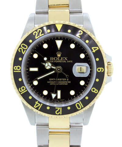 MINT Rolex GMT-Master II 16713 Two-Tone 18K Stainless Black Date SEL 40mm Watch