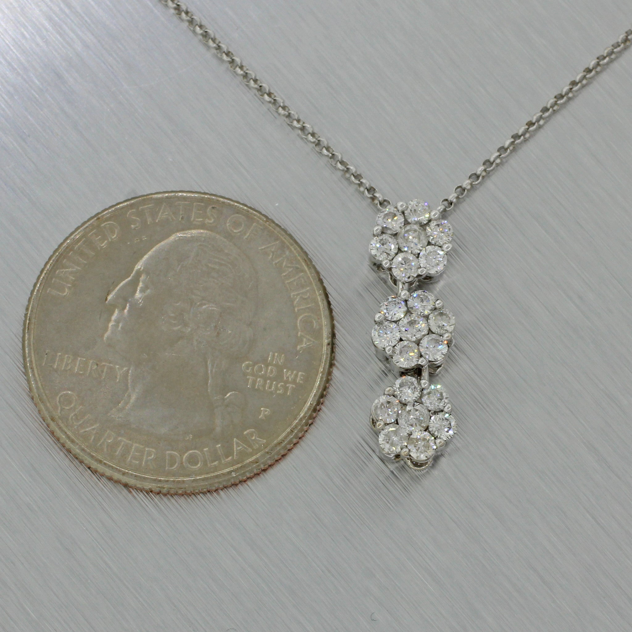 Vintage Estate 14k Solid White Gold Cluster Triple Cluster Floral Pendant Chain