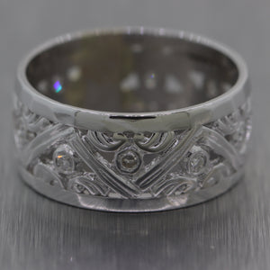 1930's Antique Art Deco 14k White Gold Diamond Filigree Band Ring