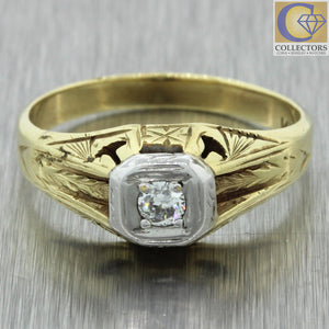 1930s Antique Art Deco 14k Solid White Yellow Gold Engraved .11ct Diamond Ring