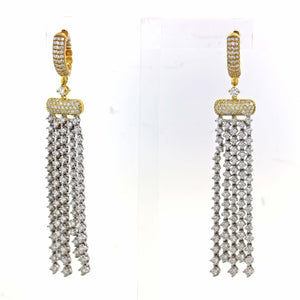 Solid 14k White Yellow Gold 5.85ctw Pave Diamond Drop Dangle Hanging Earrings A9