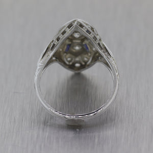 1920's Antique Art Deco 18k White Gold 0.70ctw Diamond & Sapphire Ring