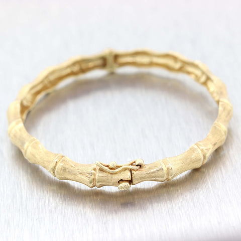 Vintage Estate Brush Solid 14k Yellow Gold Bamboo Bangle Bracelet A9