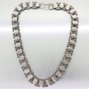 1850's Antique Victorian Sterling Silver Engraved Lock Chain
