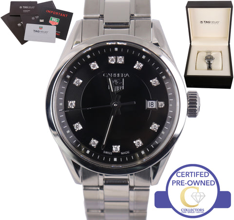 Ladies Tag Heuer Carrera Stainless Steel Black Diamond Quartz 28mm Watch WV1410