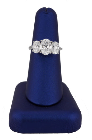 Modern Platinum 2.29 CT Oval Brilliant Cut 3-Stone Diamond Engagement Ring GIA