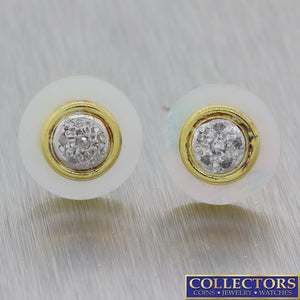 Vintage Estate 14k Yellow Gold Mother Of Pearl .15ct Diamond Stud Earrings E8