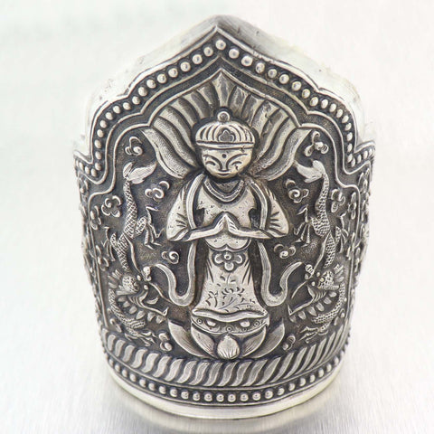 1930s Antique Art Deco Sterling Silver  Quan Yin Chinese Goddess Cuff Bracelet A9