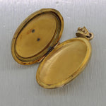 1860's Antique Victorian 14k Yellow Gold Seed Pearl Locket