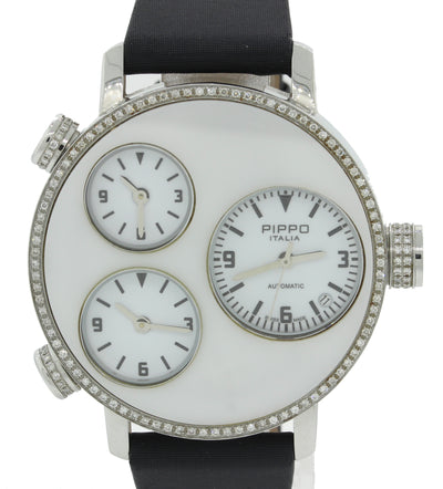Pippo Italia Lifetime Stainless Steel Diamond Pave 3 Time Zone Watch 1316