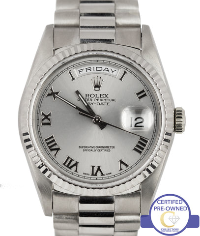 Rolex Day-Date President 36mm Double Quickset 18349 18K White Gold Watch 18239