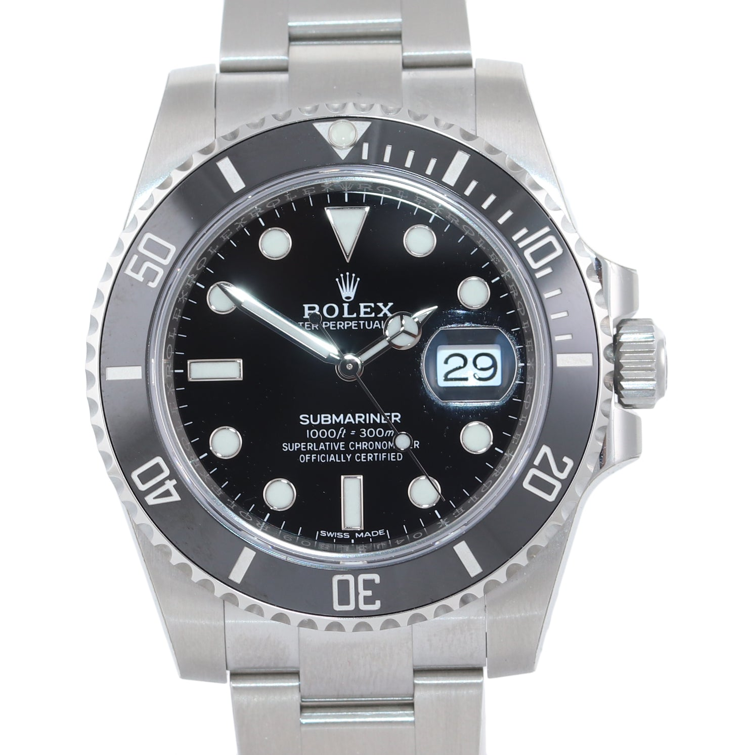 2019 BRAND NEW STICKERS Rolex Submariner 116610 Steel Black Ceramic Watch PAPERS