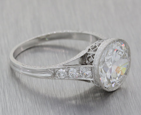 1920s Antique Art Deco Platinum 3.91ct G VVS2 Diamond Engagement Ring GIA E8