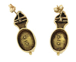 Antique Victorian 14k Solid Yellow Gold Pearl Drop Dangle Humming Bird Earrings