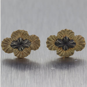 1880's Antique Victorian 14k Yellow Gold Engraved Stud Earrings