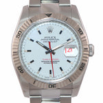 MINT PAPERS Rolex DateJust 116264 Turn-O-Graph White Thunderbird Steel 18k Engraved Watch