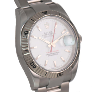 MINT PAPERS Rolex DateJust 116264 Turn-O-Graph White Thunderbird Steel 18k Watch
