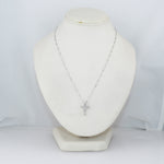 "Modern 14k White Gold 0.44ctw 11 Diamond Cross 16"" Necklace"