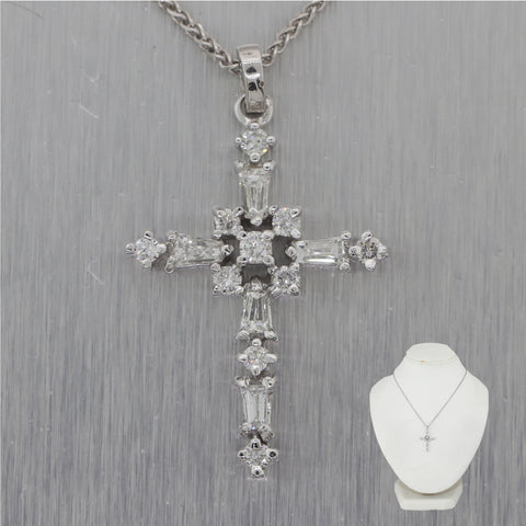"Modern 14k White Gold 0.50ctw Diamond Cross 18"" Necklace"