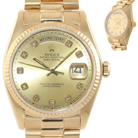MINT DIAMOND Rolex Day-Date President 18038 18k Yellow Gold Dial Watch