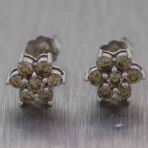 Modern 14k White Gold 0.80ctw Champagne Diamond Cluster Earrings