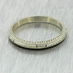1930s Antique Art Deco 18k White Gold Etched Hand Engraved 2mm Band Ring 6.25