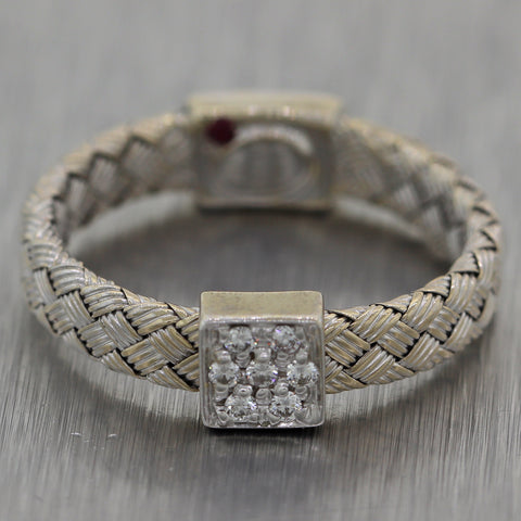 Roberto Coin 18k White Gold Diamond Primavera Woven Band Ring