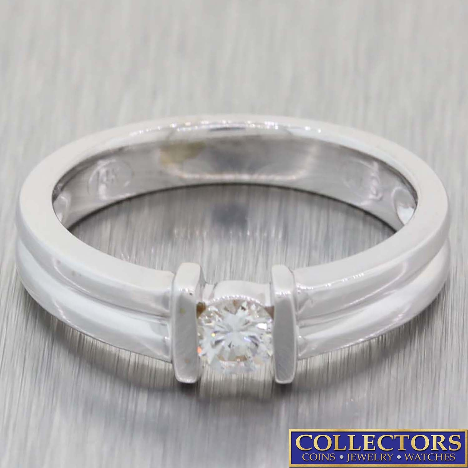 Vintage 14k White Gold .20ctw Tension Set Solitaire Diamond Band Ring L8