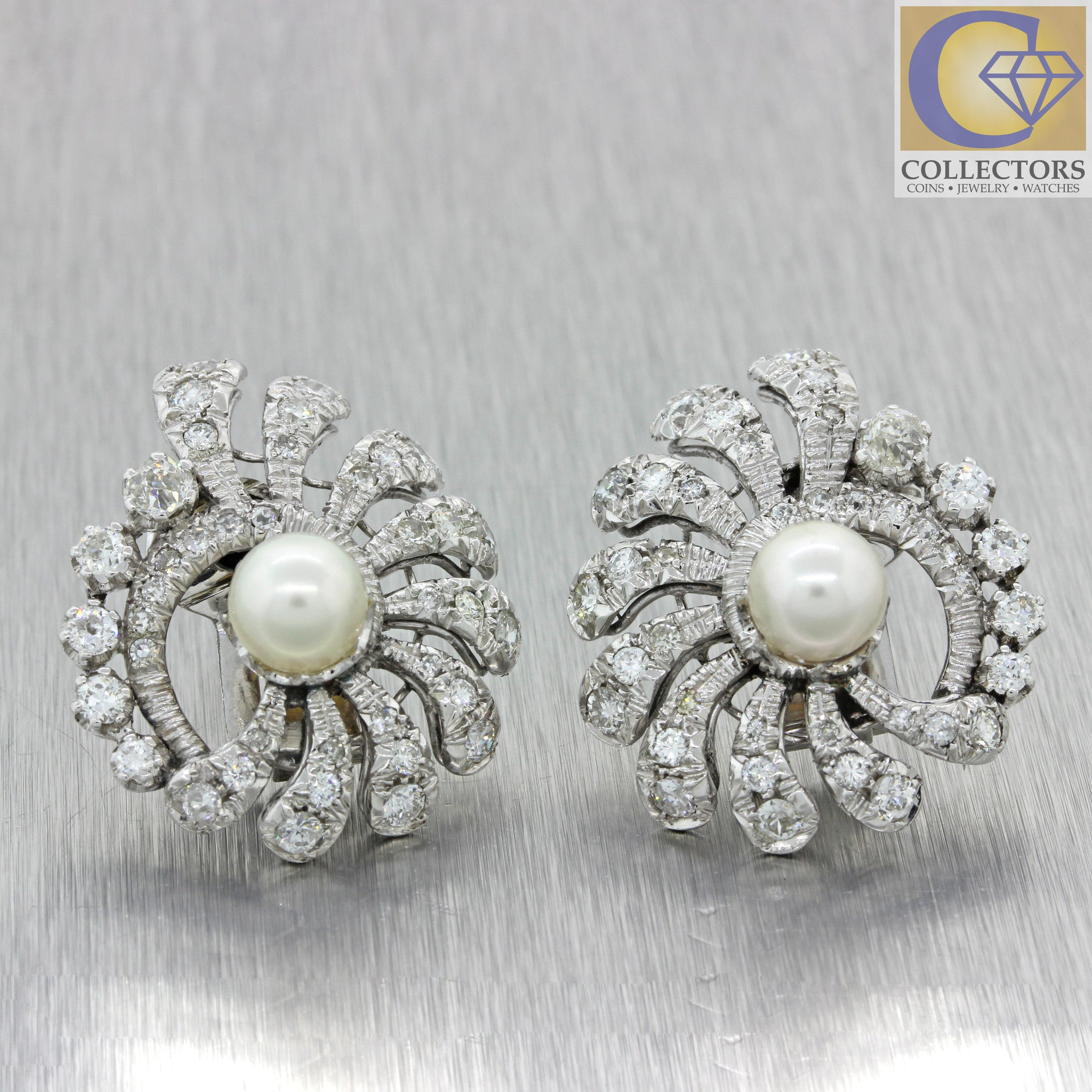 18k Solid White Gold 7-7.5mm Pearl 3ctw Diamond Cluster Earrings 17.2g
