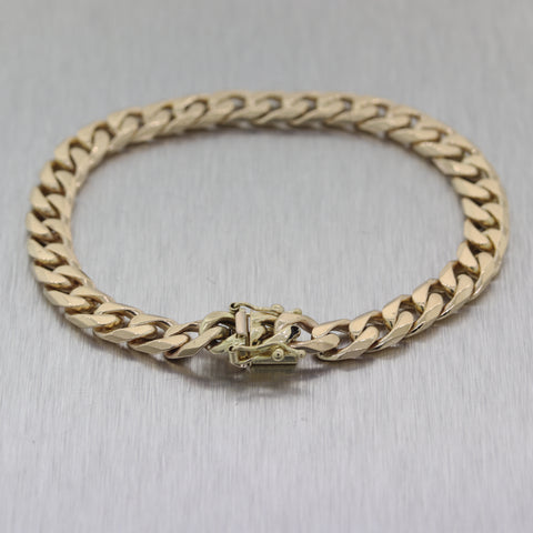 Modern 28.54g 14k Yellow Gold Cuban Curb Link Chain Bracelet