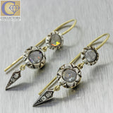 1880s Antique Victorian Sterling Silver 18k Yellow Gold Rose Cut Diamond Earrings