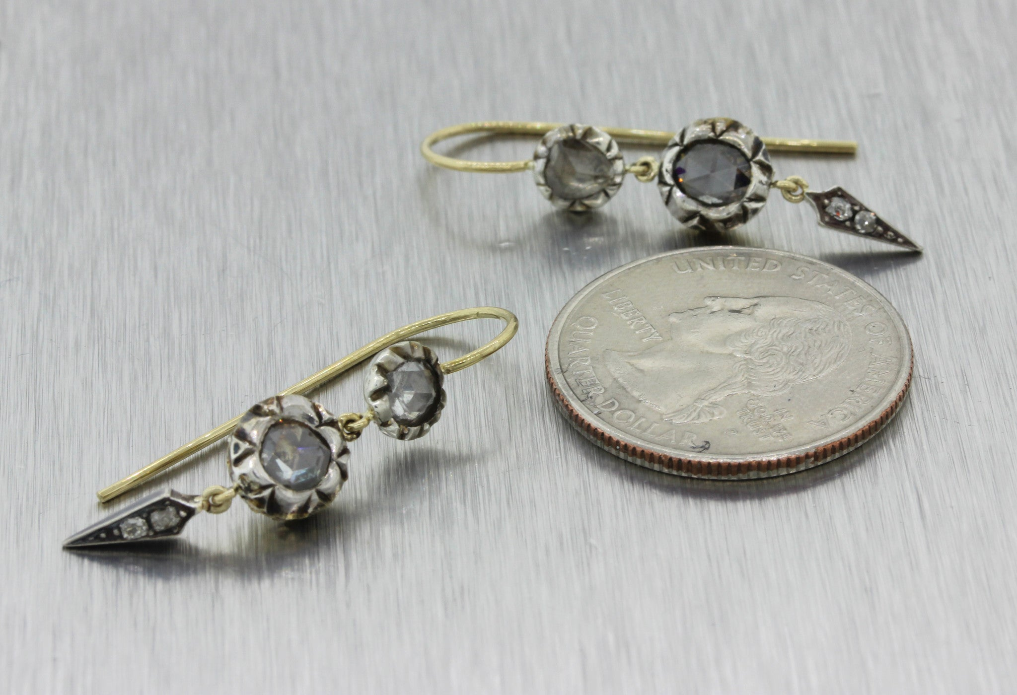 1880s Antique Victorian Sterling Silver 18k Yellow Gold Rose Cut Diamond Earring