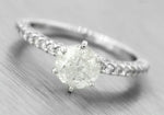 Ladies Modern 1.45ctw Diamond 18K 750 White Gold Engagement Ring EGL USA