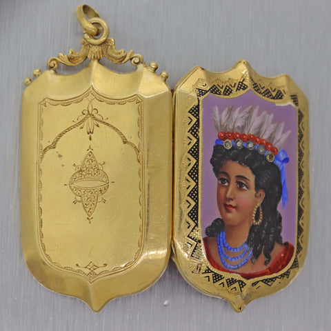 1870s Antique Victorian 18k Yellow Gold Miniature Indian Princess Portrait Pendant
