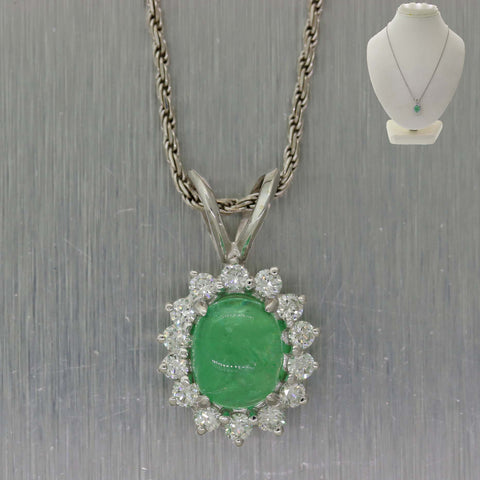Oval 2.02ct Green Emerald 14k White Gold .50ct Diamond Halo Pendant Chain Necklace